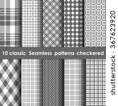 Set of 10 classic seamless checkered patterns. White and gray colors