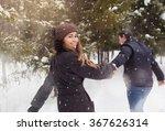 a loving couple walking in...   Shutterstock . vector #367626314