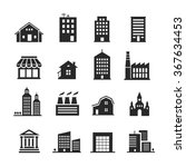 building shop icon set | Shutterstock . vector #367634453
