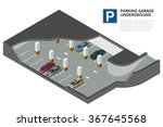 underground parking with cars.... | Shutterstock .eps vector #367645568