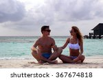 he and she on the beach | Shutterstock . vector #367674818
