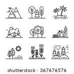 vector black flat nature icons... | Shutterstock .eps vector #367676576