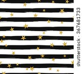 Stock vector gold glittering stars confetti seamless pattern on stripe background 367681733