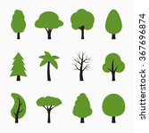 tree icons set. vector... | Shutterstock .eps vector #367696874