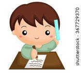 boy doing his homework   Shutterstock .eps vector #367729370