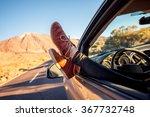 female legs on the vechicle... | Shutterstock . vector #367732748
