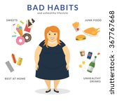 happy fat woman with unhealthy... | Shutterstock .eps vector #367767668