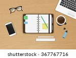 realistic work desk... | Shutterstock .eps vector #367767716