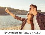 Couple In Love Making Selfie...