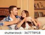 happy couple in love with plaid ... | Shutterstock . vector #367778918
