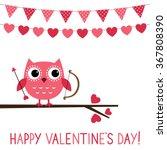cute owl vector valentine card