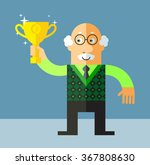old man holding winning trophy. ... | Shutterstock .eps vector #367808630