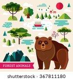vector set of forest animals... | Shutterstock .eps vector #367811180