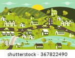 green city with houses  cars ... | Shutterstock .eps vector #367822490