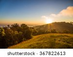 Summer Landscape Sunrise In Th...