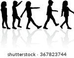 group of children's silhouettes. | Shutterstock .eps vector #367823744