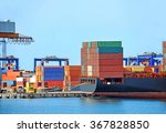container stack and ship under... | Shutterstock . vector #367828850