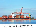 container stack and ship under... | Shutterstock . vector #367828910