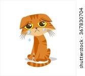 Sad Crying Cat Cartoon Vector...