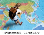women traveler is planning a... | Shutterstock . vector #367853279