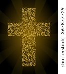 christian cross from a floral... | Shutterstock .eps vector #367877729