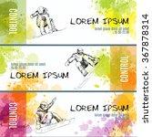 hand drawn jumping snowboarder ... | Shutterstock .eps vector #367878314