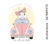 Cute Bunny Girl Driving Pink...