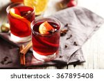 mulled wine in glass on grey... | Shutterstock . vector #367895408