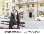 fashion beautiful woman smoking ... | Shutterstock . vector #367909340
