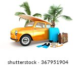 vintage car on the beach with a ... | Shutterstock . vector #367951904