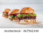 close up of home made burgers... | Shutterstock . vector #367962140