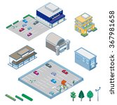 various isometric buildings ... | Shutterstock .eps vector #367981658