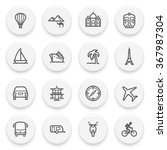 travel flat contour icons on... | Shutterstock .eps vector #367987304