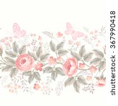 seamless floral border with... | Shutterstock .eps vector #367990418
