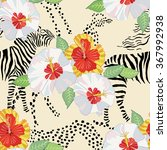 seamless pattern with hibiscus. ... | Shutterstock .eps vector #367992938
