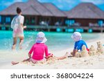 happy family playing with beach ... | Shutterstock . vector #368004224