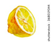 juicy lemon watercolor on paper.... | Shutterstock . vector #368019344