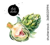 Watercolor Artichokes. Isolate...