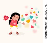 cute girl holding red heart and ... | Shutterstock .eps vector #368027276