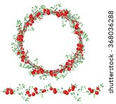 round wreath with red berries... | Shutterstock .eps vector #368036288