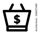 shopping basket bold line...