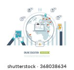 concept for online education  e ... | Shutterstock .eps vector #368038634