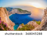 Stock photo navagio beach with shipwreck against sunset on zakynthos island in greece 368045288