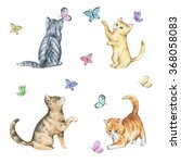 Stock photo set of watercolor cute little kittens playing with butterflies hand drawn animals illustrations 368058083