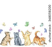 Stock photo seamless watercolor border with cute little kittens playing with butterflies 368058200