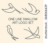 one line swallow art logo set | Shutterstock . vector #368066639