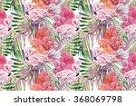 watercolor flamingos  tropical... | Shutterstock . vector #368069798