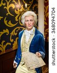 Small photo of VIENNA, AUSTRIA - AUGUST 08, 2015: Wolfgang Amadeus Mozart Figurine At Madame Tussauds Wax Museum.