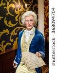 Small photo of VIENNA, AUSTRIA - AUGUST 08, 2015: Wolfgang Amadeus Mozart Figurine At Madame Tussauds Wax Museum.