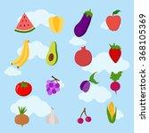 fruit and vegetables. food set. ... | Shutterstock .eps vector #368105369